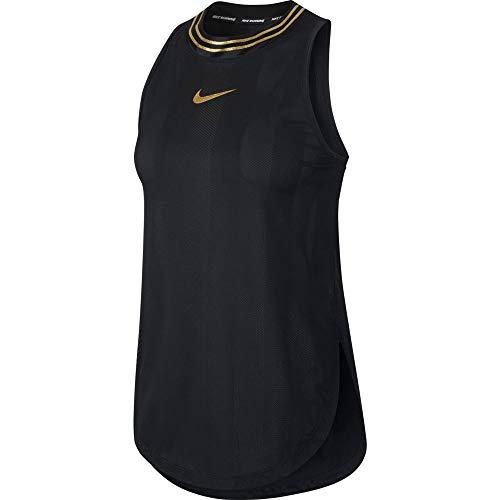 NIKE Glam Tanktop Camiseta de Tirantes para Mujer, Negro y Dorado, Extra-Large