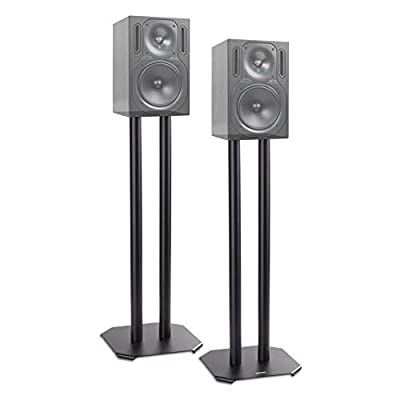 Duronic Speaker Stand (pair) SPS1022-60 | MEDIUM 60cm | Set of 2 Steel Base Supports for Stereo Loudspeakers | Floor Standing with Spikes, Shoes and Pads | Insulating | Black | For Better Audio by Duronic