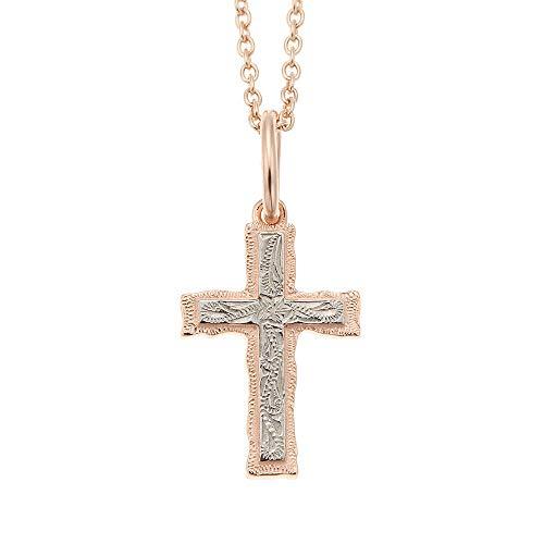 [アクセサリーショップピエナ]サージカルステンレス ハワイアンジュエリー クロス 十字架 プルメリア 波 ネックレス レディース ピンクゴールド×シルバー 50cm