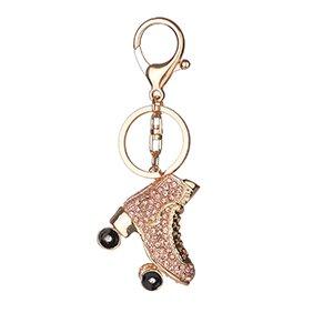 Momangel Cool Rollschuh-Schlüsselanhänger, Glitzer-Strass-Schlüsselanhänger, Taschen-Anhänger, Autoschlüssel, Dekoration, einfarbig, Champagne