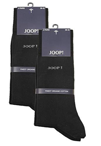 Joop Herren Socken Strümpfe klassisch dezentes Logo im 4er Pack (2x2er Pack) (43-46, schwarz)