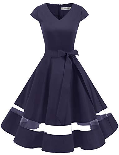 Gardenwed 1950er Vintage Retro Rockabilly Kleider Petticoat Faltenrock Cocktail Festliche Kleider Cap Sleeves Abendkleid Hochzeitkleid Navy 2XL