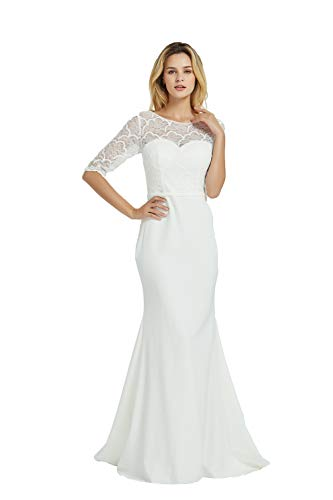 Women's Weddimg Dress 3/4 Sleeve Lace Long Bride Dresses Party Gowns (Apparel)