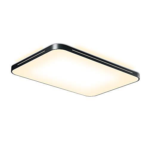 Fscm 64W Deckenlampe LED Deckenleuchte Lampe Modern Deckenbeleuchtung Lampen für Flur Wohnzimmer Schlafzimmer Küche Badezimmer, Schwarz Metal Rahmen Rechteck 65x43x5cm Warmweiß (2800-3500K) IP44