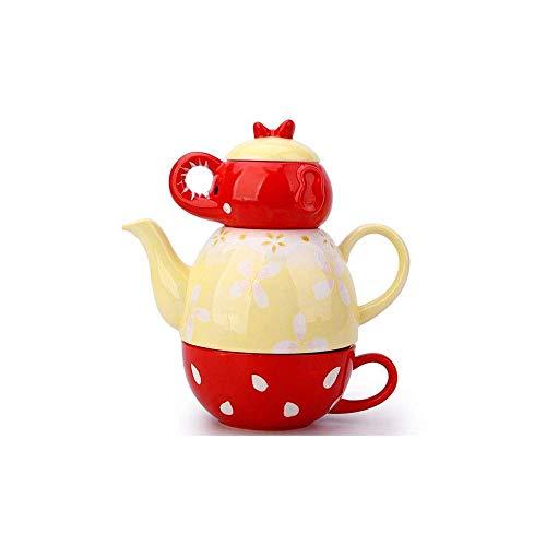 BANANAJOY Tetera, Creative Set Lindo té, Porcelana de Hueso con el Filtro, Taza de café Conjunto, Familia, Oficina, Juego de té,
