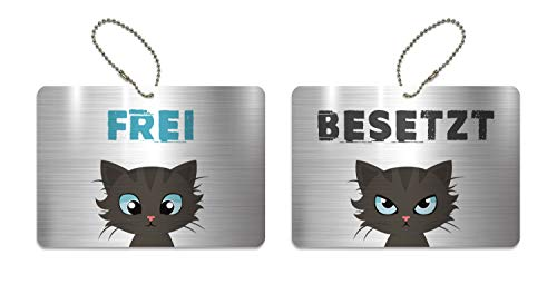 KaiserstuhlCard Türschild BESETZT FREI Schild WC Kinderzimmer Deko Anhänger Wendeschild 14,8 cm x 10,5 cm Katze Symbole