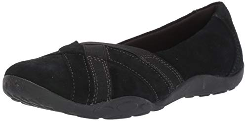 Clarks womens Haley Jay Loafer Flat, Black Suede, 8 Narrow US