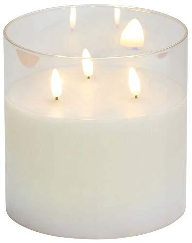 Northpoint LED Echtwachs Kerze im Glas flackernd warmweiß mit integriertem Timer Batteriebetrieben Weiß / Perlmutt