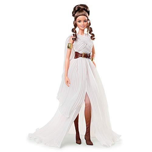 Barbie Collector Star Wars Rey x Doll (~12-inch) Wearing Gown and Accessories, with Doll Stand and Certificate of Authenticity