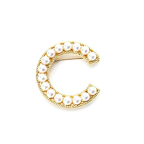 WskLinft Fashion Pearl Brooch Pin, Elegant Women Faux Pearl Beaded Uppercase Letter Corsage Suit Lapel Badge Clothes Jewelry Accessory Gifts C