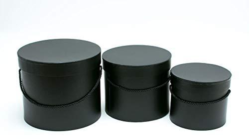 VIPOLIMEX 3er Set runde Blumenboxen in Schwarz mit schwarzer Kordel, Aufbewahrungsbox mit Deckel, unifarbene Hutschachtel, Schwarze Geschenkboxen, personalisierbar