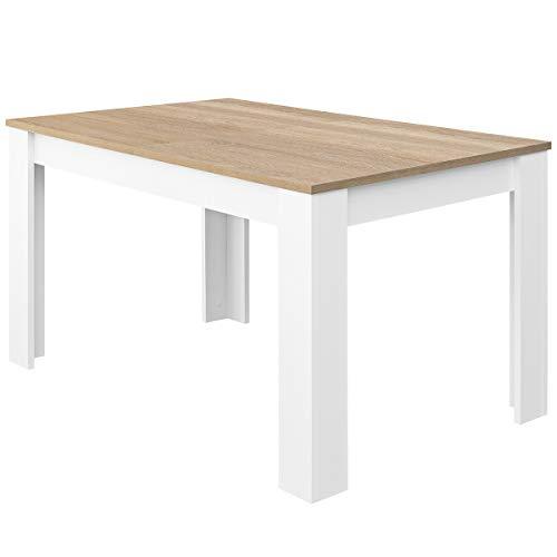 COMIFORT – Mesa De Comedor Extensible Moderna de 120 a 170 cm, Medidas 120/170x75x78 cm, Disponible en Colores: Blanca, Blanco/Roble, Roble, Wengué, Nordic (Blanco/Roble)