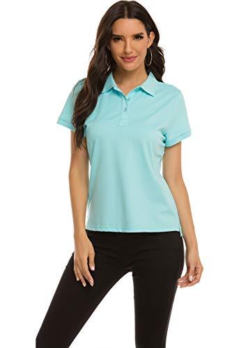 MoFiz Damen Poloshirt Kurzarm Baumwolle Polohemd Sport Polo Sommershirts Atmungsaktiv Hellblau L