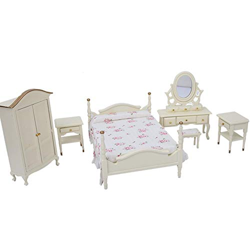 Juego de muebles de dormitorio en miniatura de casa de muñecas a escala 1:12 de 6 uds.