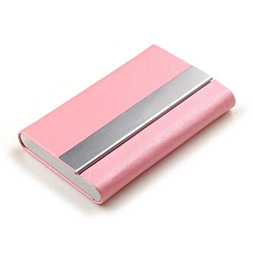 D-JIAJU Portatarjetas De Visita Profesional Estuche For Tarjetas De Visita Portatarjetas De Cuero PU De Acero Inoxidable Mantenga Tarjetas De Visita For Hombres Y Mujeres (Color : Pink)