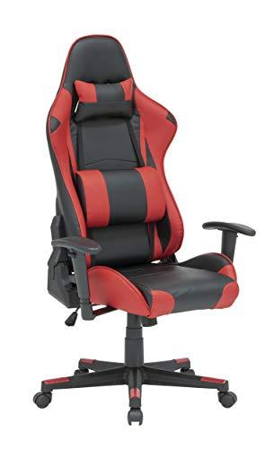 SD STUDIO DESIGNS High Back, Ergonomic, Swivel, Height and Tilt Adjustable Gaming Chair, Removable Lumbar, Headrest Pillow, Black/Racing Red