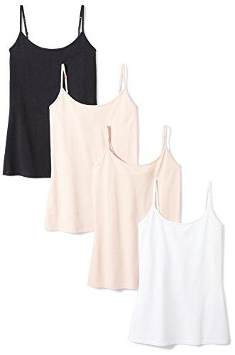 Amazon Essentials Women's 4-Pack Slim-Fit Camisole, Beige/Beige/White/Black, Medium