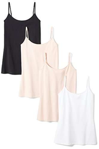 Amazon Essentials Women's 4-Pack Slim-Fit Camisole, Beige/Beige/White/Black, Large