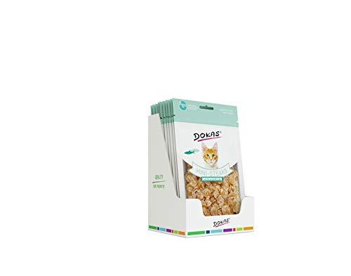 DOKAS Mini-Steaks mit Kabeljau – Getreidefreies Premium Leckerli für Katzen – Ideal als Belohnung
