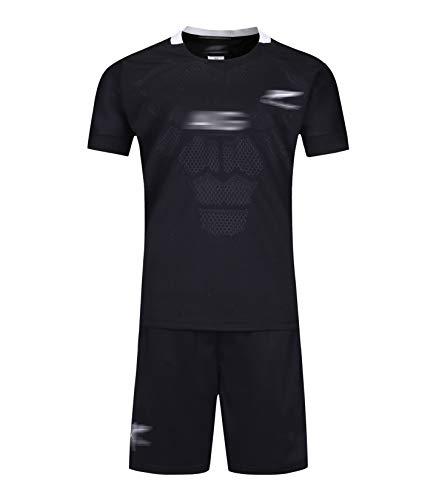 Kinder-Rugby-Trikots-Set, Für komplett schwarz bestickte Kleidung, neuseeländische Rugby-Kleidung 2019-2020, Shirt Vest Top Summer Shorts für Jungen und Mädchen-L