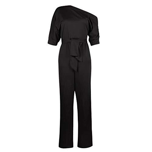 IMJONO Printemps Combinaison Femme Chic pour SoiréeSexy épaule Froide Solide Manches Courtes avec Ceinture Sexy Chic Vêtements de Travail Combinaison Slim Pantalon Large (Noir,XL