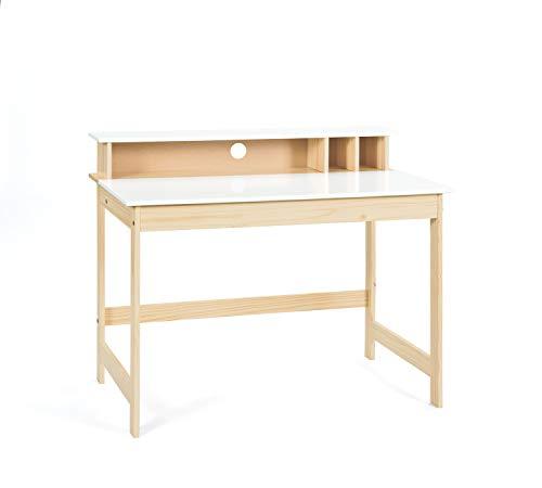 Inter Link Schreibtisch Arbeitstisch Kiefer Massivholz Milkyskin lackiert MDF Weiss