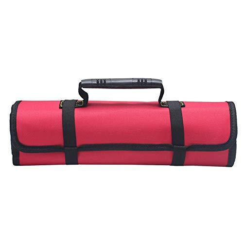 KUNSE Reel Kit Electrician Tool Bag Canvas Oxford Cloth Kit Multi Funcional Thickening Bag Roll Tool Kit-Rojo