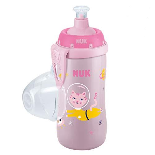 Nuk Junior Cup Trinklernflasche, mit Push-pull-Tülle & Clip, auslaufsicher, BPA frei, 300ml, Katze (Rosa)