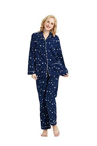 GLOBAL Gemütlicher Schlafanzug für Damen, 2-teilig, warm und gemütlich, Flanell,...
