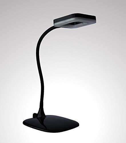 TRANGO 7491-015 LED Schreibtischlampe in Schwarz *LOPY* inkl. 1x 6 Watt LED Modul 3000K warmweiß & 3 Stufen Touch dimmbar Tischleuchte, Nachttischlampe, schwenkbar und drehbar Tischlampe