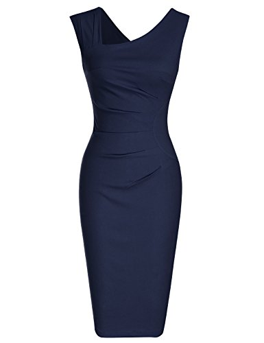MUXXN Women's 1950s Sleeveless Slim Business Pencil Dress (S,Blue)