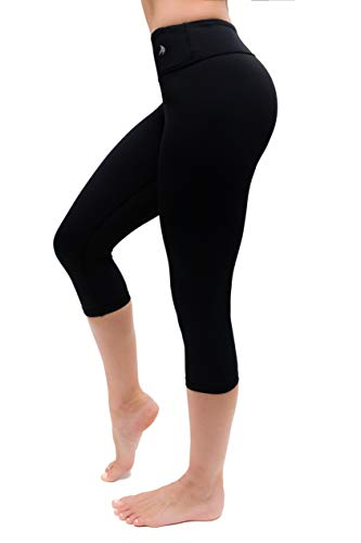 CompressionZ Compression Capri Leggings for Women - Yoga Capris Running Tights - High Waisted Pants (Black, L)