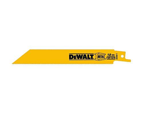 DEWALT Reciprocating Saw Blades, Bi-Metal, 6-Inch, 18 TPI, 5-Pack (DW4811)
