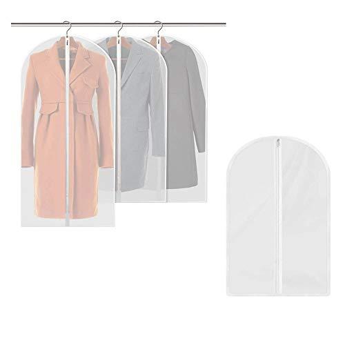 YUEMING 8Pcs Fundas de Ropa,Bolsa de Traje Transparente, Bolsas de Ropa con Cremallera Completa, Colgante Cubierta De Ropa Prueba de Polvo para Vestidos Abrigos Chaquetas Camisas