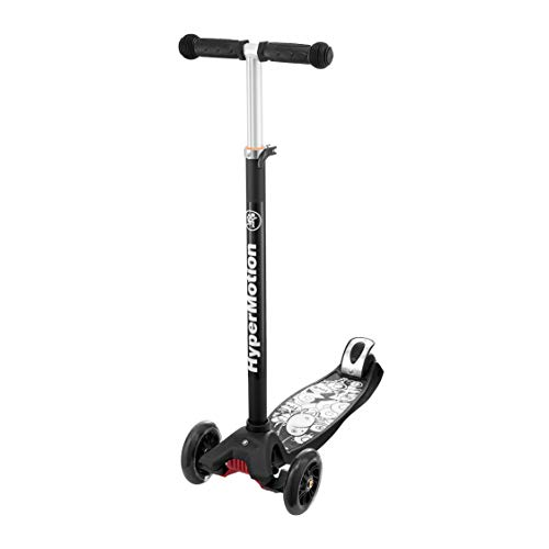 HyperMotion, Triciclo Balance Scooter para niños de más de 5 años, patinete con ruedas LED para adolescentes, triciclos con manillar de altura ajustable para niñas y niños, color negro con estampado