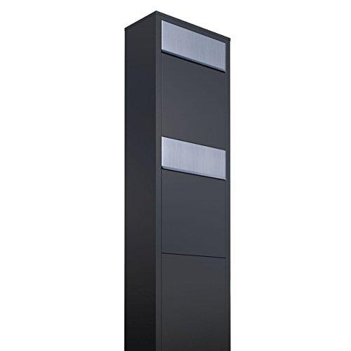 Briefkastenanlage, Design Briefkasten Big Box for Two Schwarz/Edelstahl - Bravios