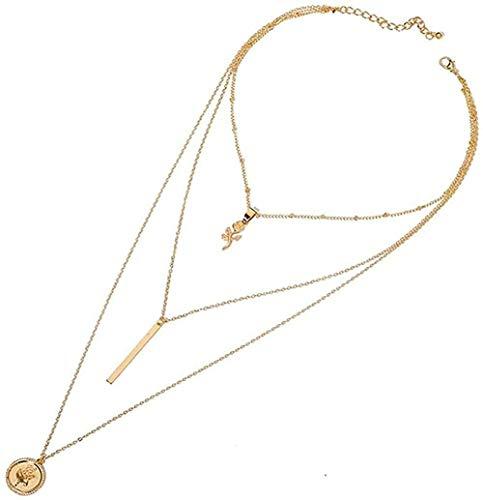 ZPPYMXGZ Co.,ltd Collar de Moda con Colgantes de Oro Collares para Mujer Gargantilla Flor Collar étnico Joyas Multicapa joyería Bohemia Femenina