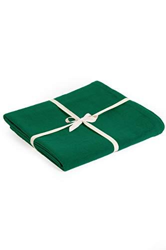 Yoga Studio - Manta de yoga de algodón orgánico 142 x 205 cm manta de meditación, certificado GOTS, compacto, fácil de transportar. Yoga Essentials, color verde a rayas, tamaño normal