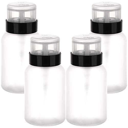 Pack of 4 Push Down Pump Dispenser Lockable Empty Bottle for Alcohol, Acetone, Nail Polish and Makeup Remover, 200 ml (6.8 oz)