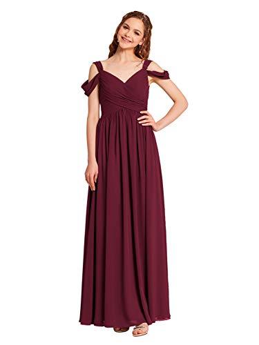 Alicepub Cold Shoulder Chiffon Bridesmaid Dress Long Maxi Formal Dresses for Women Party, Burgundy, US10