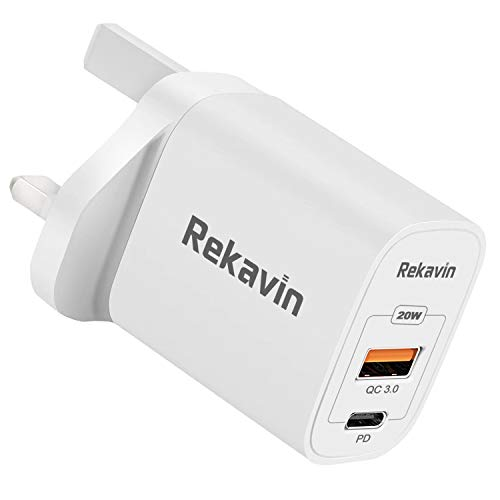 Rekavin USB C Plug Charger,20W USB C Wall Charger Fast Charging 3.0 Type C Power Delivery Adapter UK Quick Charge for iPhone 12 Pro Max/Mini 11 X XR XS 8 SE 2020 iPad Samsung S20 A80 Google Pixel etc