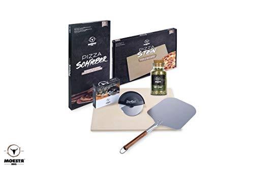 MOESTA-BBQ 10596 Pizza Home Kit für Grills & Backöfen, Set Pizzastein, Schieber, PizzaCut, Tutto Bene Gewürzmischung