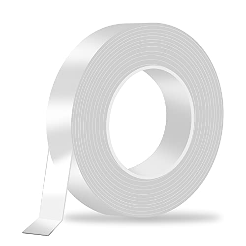 Double Sided Nano Tape Heavy Duty Adhesive 16 1/2FT - BIGOU Multipurpose Wall Tape Removable Mounting Tape Clear Gel Strip Washable Strong Sticky Poster Carpet Tape for Household/Office/Festival Decor
