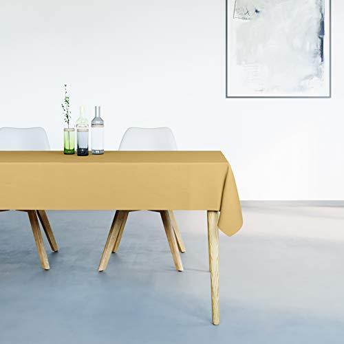 Mistral Home Mantel Antimanchas Rectangular Amarillo – 150 x 250 cm – Mantel de Mesa Combinación de Algodón y Poliéster – Lavable en Lavadora – Protección Moderna para su Mesa
