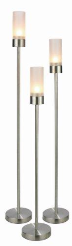 Home Deluxe Kerzenleuchter Set 3 TLG. aus mattiertem Edelstahl 18/0, Glas satiniert
