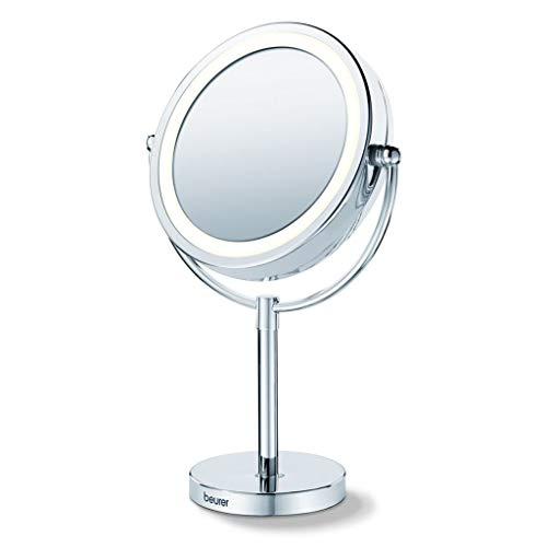 Beurer Kosmetikspiegel mit Lichtern, 17 cm, Chrom, Make-up-Spiegel