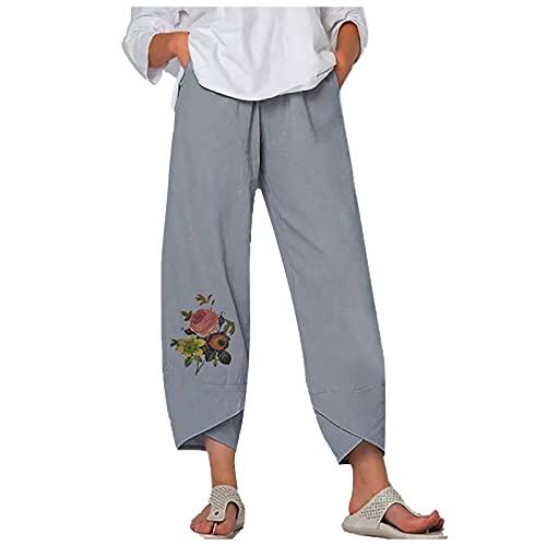Liably Pantalones anchos de algodón y lino para mujer, para verano, con estampado de flores, holgados, ligeros, elásticos, de talle alto, elegantes pantalones de jogging gris XXXL