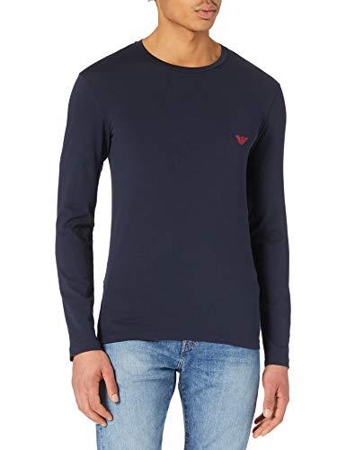 Emporio Armani Underwear T-Shirt Shiny Logoband, Blu Marino, L Uomo