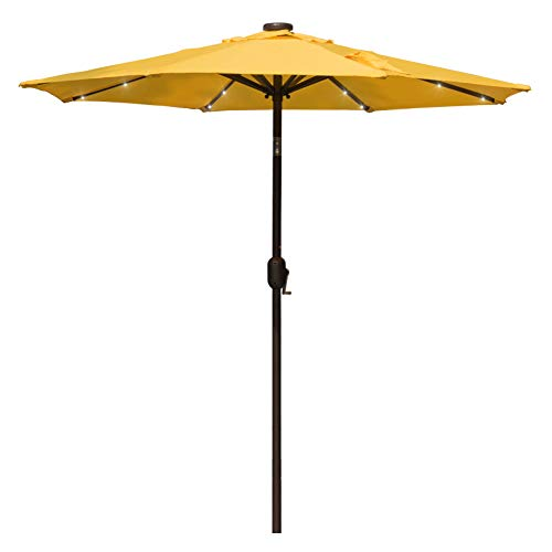 Sundale Outdoor 7 ft Solar Powered 24 LED Lighted Patio Umbrella Table Market Umbrella with Crank and Push Button Tilt for Garden, Deck, Backyard, Pool, 8 Steel Ribs, Polyester Canopy (Yellow)
