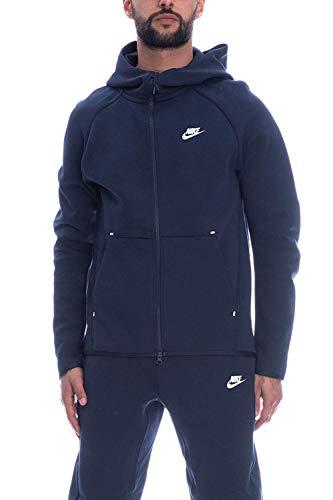Nike Herren M NSW TCH FLC Hoodie FZ Sweatshirt, Obsidian/(White), XL